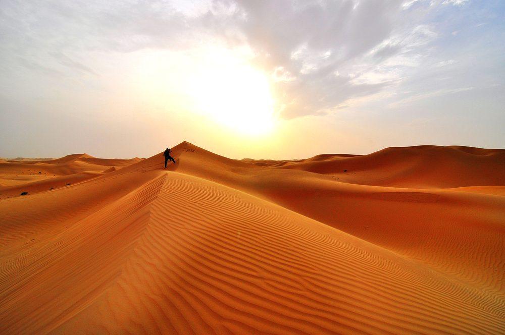 Desert dunes in the United Arab Emirates, close to Abu Dhabi