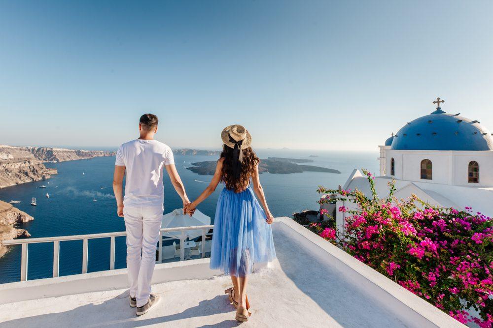 Couple in Santorini