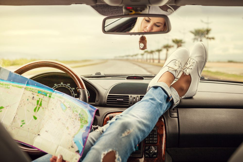 Reading the map on a road trip
