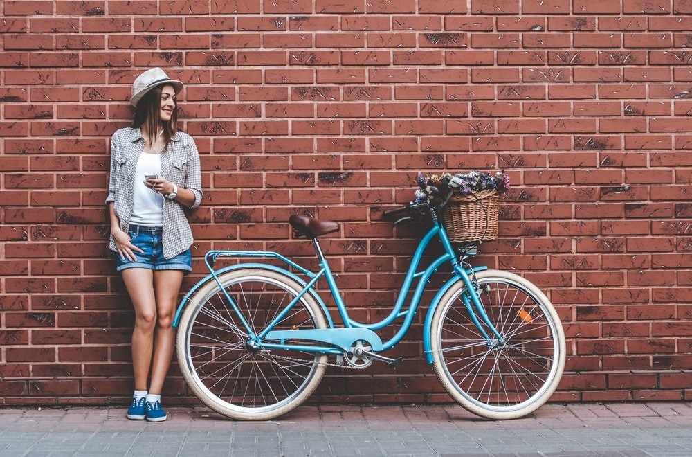 Girl and bicycle
