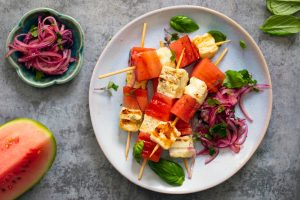 Halloumi and watermelon salad