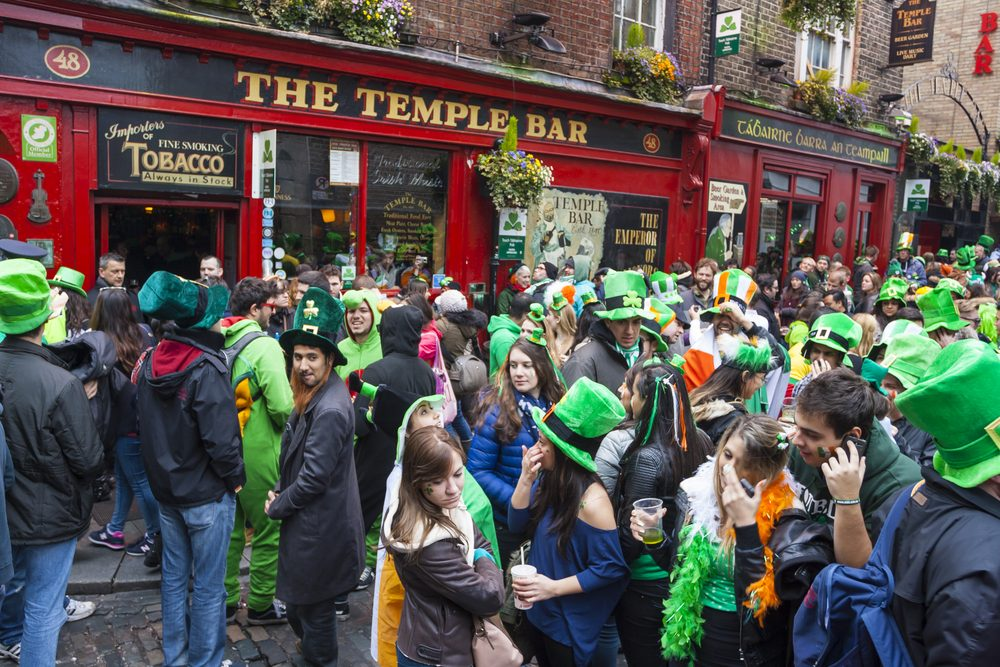 St. Patrick's Day outside Temple Bar in Dublin