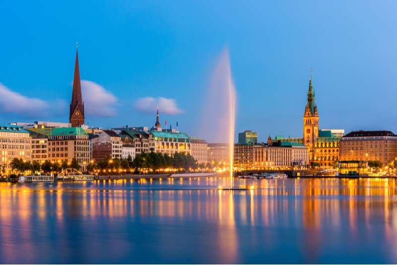 Alster Lakes in Hamburg, Germany