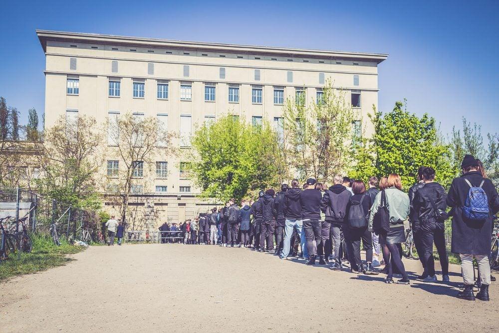 Queue of people at Berghain in Berlin