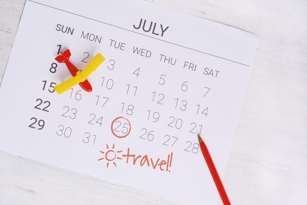Calendar booking summer travel