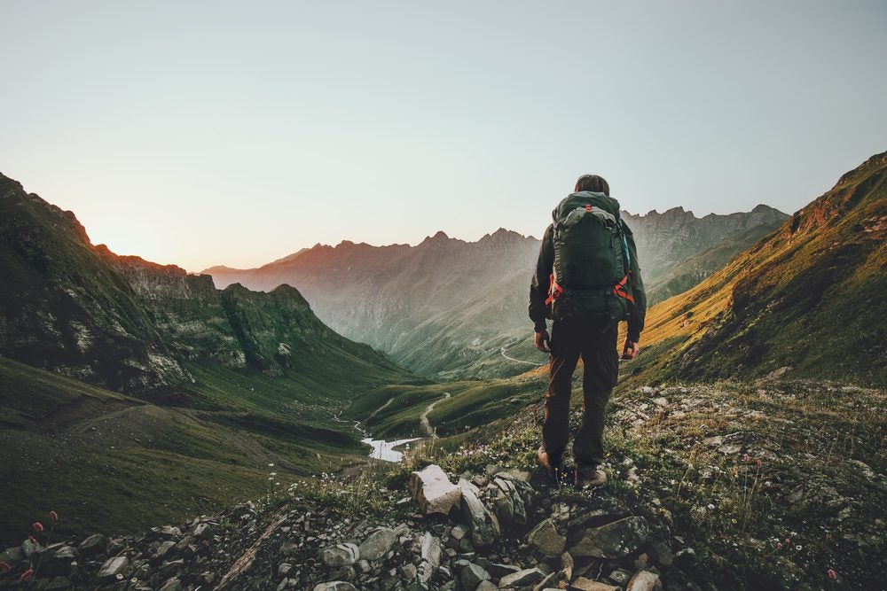 Man hiking a mountain
