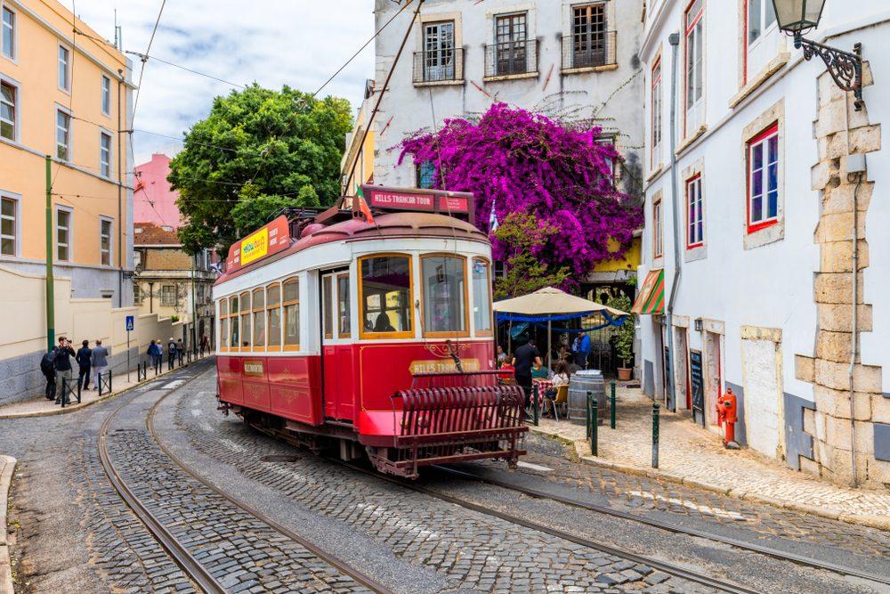 Famous tram in Lisbon, Portugal