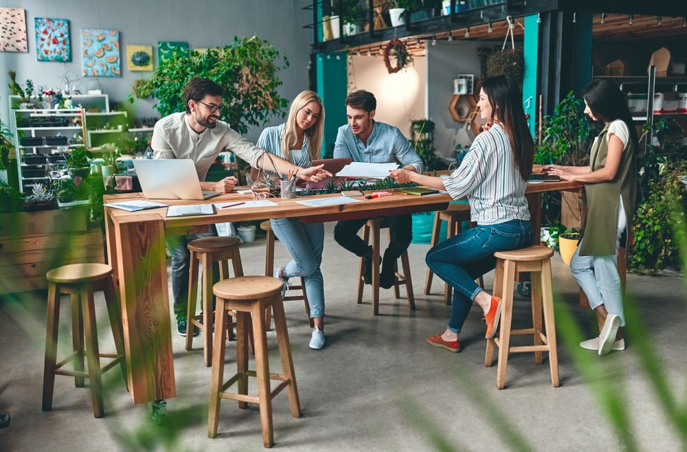 Group of people working in a coworking space