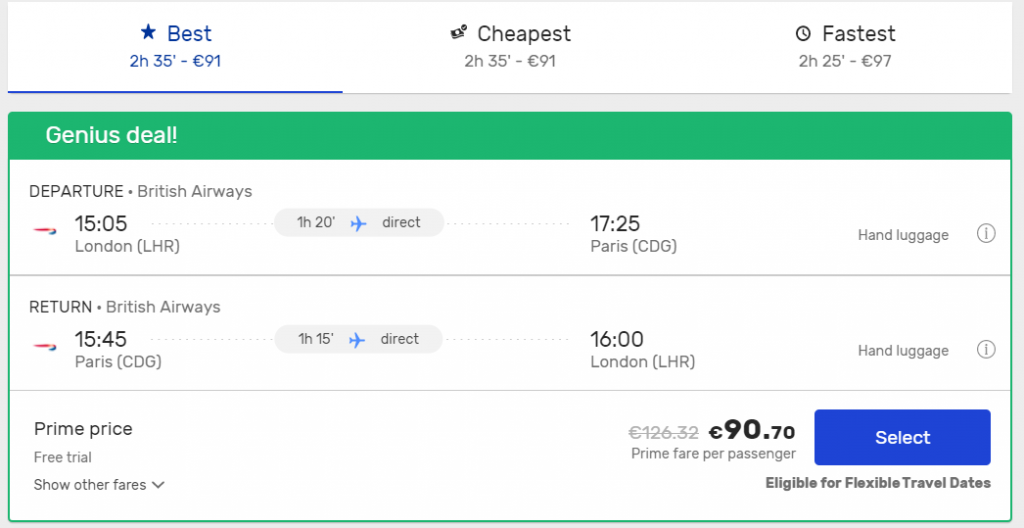 flight search on eDreams with Prime price